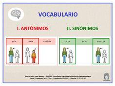 En esta actividad se trabajan sinónimos y antónimos. Se proponen veinte ejercicios, la mitad para señalar la palabra que signifique lo contrario (antónima) y la otra mitad para elegir la palabra que tenga el mismo significado (sinónima). Al responder aparecen los pictogramas junto a las palabras seleccionadas. Dentro de unos recuadros rojos se muestran las palabras antónimas, y dentro de unos recuadros verdes las palabras sinónimas.