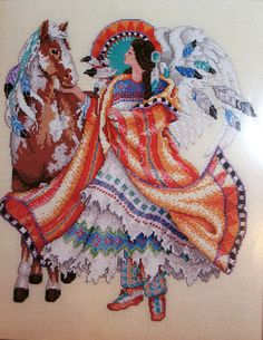 Native American Angel Cross Stitch Pattern by Barbara Baatz, Cross Stitch Masterpiece Collection by GriffithGardens on Etsy