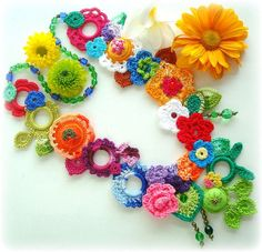 Pastora by Lidia Luz @ Flickr - beautiful crocheted jewellery ~ bring on the colour! Freeform Crochet, Bead Crochet, Fleur Crochet, Crochet Earrings, Crochet Accessories, Crochet Flowers, Yarn Crafts, Crochet Crafts, Crochet Projects