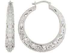Remy Rotenier For Bella Luce (R) 4.27ctw Rhodium Plated  Silver Contemoprary Scroll Hoop Earrings