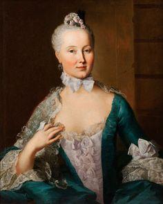1753 Caroline of Lowenstein, portrait is one of a pair, the other features her husband by Johann Heinrich Tischbein