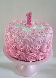 Large Pink Rosette First Birthday Fake by FakeCupcakeCreations