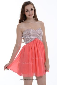 Coral A-line Sweetheart Beading Short-Mini Chiffon Prom Cress/Homecoming Dress/Cocktail Dress With Beading