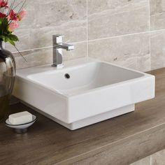 Vico White Ceramic Wall Hung or Counter Top Basin with Free Basin Mixer