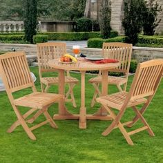 Caluco Teak 4-person Wood Patio Dining Set With Folding Chairs by Caluco. $1109.00. Teak is resistant to decay and insects. Durable and sturdy for outdoor use. Wood is harvested responsibly for eco-friendly furniture. Slatted table top allows moisture to escape for long lasting use. Set Includes: Dining Table and 4 Folding Dining Chairs. Caluco Teak 4-Person Wood Patio Dining Set With Folding Chairs. 50-503. Wood Dining Sets. The Teak Collection from Caluco offer...