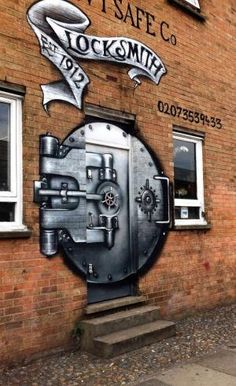 Shoreditch, London, UK What a great front entrance for a shop. Street art on a door by marisa