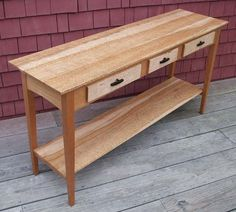 Birdseye Maple and Cherry sofa table with drawers
