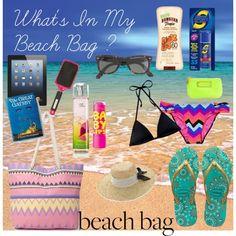 """What's in My Beach Bag"" by avaliciousstyle on Polyvore #BeachBag #Beach #Sunscreen #iPad #Book #Brush #BodyMist #Chapstick #Hat #FlipFlops #Bikini #Wallet #Sunglasses #Fashion #Style #avaliciousstyle"