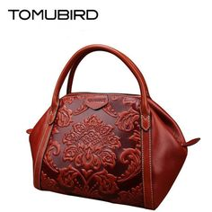 135.31$  Buy now - http://alif1l.worldwells.pw/go.php?t=32754331437 - TOMUBIRD new Superior cowhide leather Designer Classic Ladies Embossed Floral Leather Tote Casual Shoulder Handbags