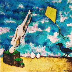 New work!  ONE SUNNY DAY (2017) exhibits in Prague on February 3rd 2017. This time I wanted to show the original canvas painting so the colors are a little muddy. #painting #artwork #canvas #art #surreal #fantasy #kite #crow #original #artist #female #nude