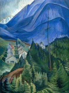 """Post Impressionism painting by Canadian artist Emily Carr """"Landscape"""" - Cozyhuarique Tom Thomson, Canadian Painters, Canadian Artists, Emily Carr Paintings, Group Of Seven Paintings, Post Impressionism, Collage, Landscape Paintings, Abstract Landscape"""