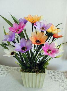 Items similar to Handmade Vibrant Summer Flowers Arrangement on Etsy Nylon Flowers, Tissue Flowers, Clay Flowers, Fake Flowers, Silk Flowers, Fabric Flowers, Summer Flower Arrangements, Summer Flowers, Flower Crafts