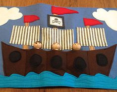 Pirate Ship Roll Up and Play Mat- 3 pirate figures included- wool felt toy, pirate toy, felt play mat, waldorf peg doll, travel toy