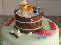 taart van in bad met woezel en pip