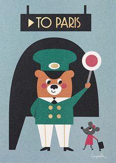 #Card by #Ingela wenskaart To Paris dubbel 12x17from www.kidsdinge.com    www.facebook.com/pages/kidsdingecom-Origineel-speelgoed-hebbedingen-voor-hippe-kids/160122710686387?sk=wall         http://instagram.com/kidsdinge #Kidsdinge #Toys #Speelgoed