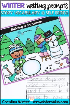 Winter Writing Prompts - These simple prompts have a winter vocabulary word bank for each picture to naturally differentiate your writing center. Even the most emergent, writers shine using this resource.  Click to find out more!  #writingprompts #elementarywriting