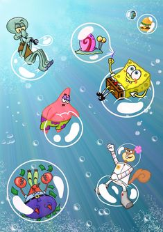 Sooooo, long, long ago I promised that I would make more SpongeBob art, and now I Finally made one! With the main characters included . Bubble fun in Bikini Bottom Cartoon Wallpaper Iphone, Disney Phone Wallpaper, Mood Wallpaper, Iphone Background Wallpaper, Cute Cartoon Wallpapers, Aesthetic Iphone Wallpaper, Spongebob Drawings, Disney Drawings, Spongebob Background