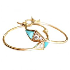 Mociun Triangle Turquoise & Diamond Hoop Earrings