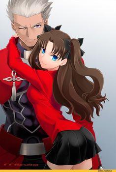 Rin Tohsaka and Archer EMIYA fate stay night