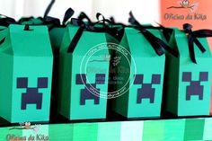 Caixa Creeper - Festa minecraft | Oficina da Kika - Festas e Idéias Personalizadas | 2C66FC - Elo7