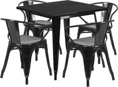 Perseo Metal Indoor Square Restaurant Dining Set with 4 Arm Chairs