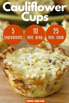 Cheesy Cauliflower Cups are a healthy, clean-eating snack that happens to be keto-friendly too! #healthysnack Low Sugar Recipes, No Carb Recipes, Low Carb Dinner Recipes, Low Carb Desserts, Snack Recipes, Diet Recipes, Sugar Foods, Dessert Recipes, Primal Recipes