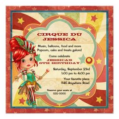 Girls Circus Birthday Card