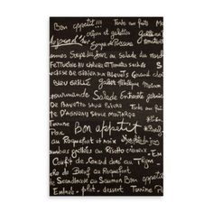 Trans-Ocean Bistro Indoor/Outdoor Rug in Slate - BedBathandBeyond.com... Menu in French... cute for our international theme