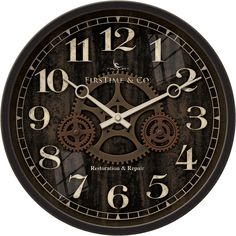 FirsTime Industrial Gears Wall Clock (€29) ❤ liked on Polyvore featuring home, home decor, clocks, battery operated clocks, brown wall clock, battery wall clocks, industrial clock and gear wall clocks