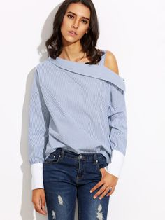 Blue Striped Fold Over Asymmetric Shoulder Contrast Cuff Blouse -SheIn(Sheinside) Mobile Site