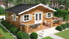 Top Landscaping Companies Near Me Cabin House Plans, Tiny House Cabin, Log Cabin Homes, Small House Plans, Bamboo House Design, Bungalow House Design, Tiny House Design, Bungalows, Modern Wooden House