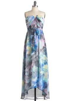 Magnified Beauty Dress - Long, Multi, Yellow, Green, Blue, Strapless, High-Low Hem, Print, Party, Maxi, Spring, Belted, Sheer