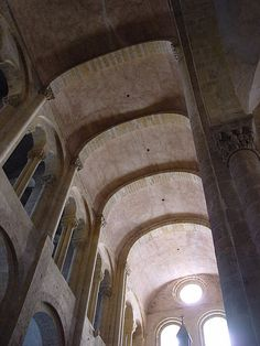 romanesque; The vault at the Abbey Church of Saint-Foy, Conques, France