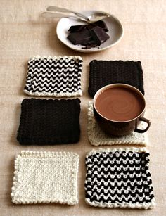 Chocolate Bar Coaster Kit from Purl Soho: Created in celebration of NYC's City Bakery 18th Annual Hot Chocolate Festival, this knitting kit will make 6 or more coasters.  Each kit includes two skeins of Cascade Superwash 128, one Ecru and one Chocolate.  Needles are not included - US 13 needed.   $24.00
