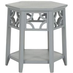 Hester End Table ($279) ❤ liked on Polyvore featuring home, furniture, tables, accent tables, wood table, hexagon shelves, wood shelf, hexagon side table and wooden end tables