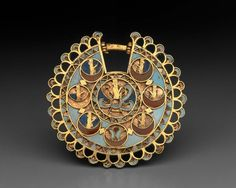 Earing, gold with inlays of turquoise, carnelian and lapis lazuli.    Iran    525-533 B.C.    [Museum of Fine Arts - Boston]