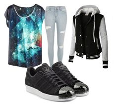 """Untitled #10"" by journeycarothers on Polyvore featuring LE3NO and adidas Originals"