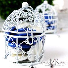 Cage à oiseaux dragées bleus et blancs