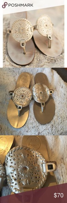 Jack Rogers Georgica Sandals 👙🕶 Classic gold Georgica sandal by Jack Rogers. Imagine yourself rocking these on spring break 👌🏼 The detailed whipstitching and color are perfection and can easily be matched with any outfit. They are in excellent condition- a few minor scratches on the sole. These are size 5.5 - unfortunately they are too small for me so I am selling. I wore them only around the house to see if I could fit into them. Price is somewhat flexible - make a reasonable offer…