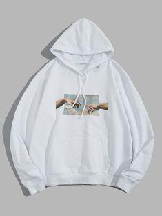 YYG Mens Drawstring Dragon Embroidery Floral Print Loose Long Sleeve Pullover Hoodie Sweatshirt