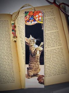 Laminated Playful Daisy Tabby Kitty Cat Kitten Photo Bookmark w/ Cloisonne Fish Beads - pinned by pin4etsy.com