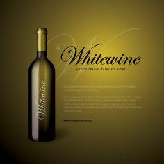 Whitewine Bottle Icon Set