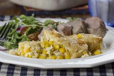 Country Corn Casserole made with frozen corn and crackers (no cornbread mix).