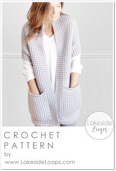 Crochet this beautifully textured cardigan using the popular waffle stitch! The Watson Waffle Crochet Cardigan is a chunky sweater that looks so cozy with its long length, bulky feel, and large pockets. This cardigan works up very quickly, is easy to construct, and will look beautiful layered over jeans, leggings, or your favourite lounge wear! You can crochet 16 different sizes from baby to 5XL. Chunky Crochet, Knit Crochet, Crochet Sweaters, Crotchet, Crochet Waffle Stitch, Mode Crochet, Modern Crochet Patterns, Vintage Patterns, Vintage Sewing