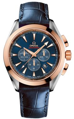 "The OMEGA Seamaster Aqua Terra Co-Axial Chronograph ""London 2012"" with blue leather strap."