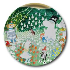Moomin Handmade tray with a classic motif taken from Tove Jansson's original drawings. High quality wood, made in Sweden. Size Ø 31 cm. 32€