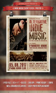 Indie Music Event Flyer / Poster Template PSD. Download here: https://graphicriver.net/item/indie-music-event-flyer-poster/19011509?ref=ksioks
