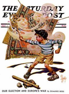 Saturday Evening Post - 1940-05-11: Rug Beater (J.C. Leyendecker)