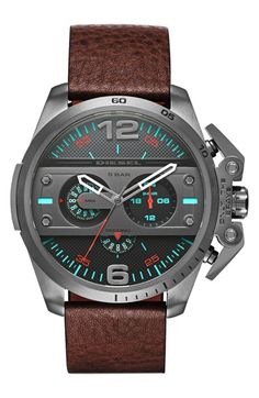 DIESEL® 'Ironside' Chronograph Leather Strap Watch, 55mm