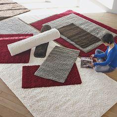 Domino Tapis Shaggy blanc et gris 160x230cm